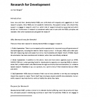 Research for Development – World Vision Paper